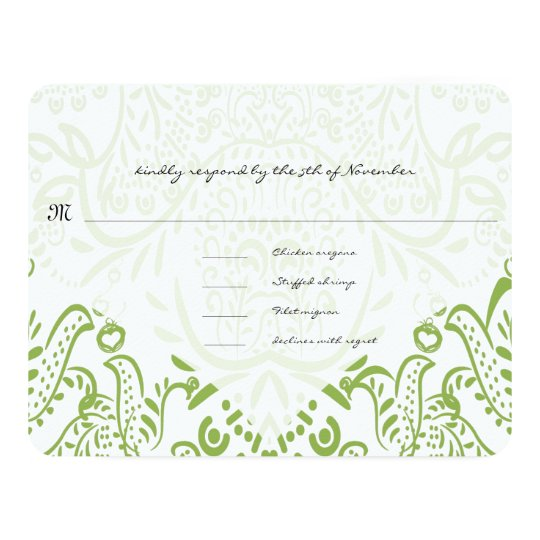 Apple Green Whimsical Bird Wedding Response Cards