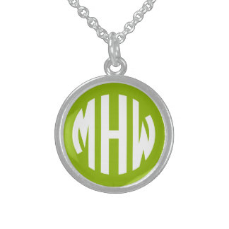 Apple Green White 3 Initials in a Circle Monogram Sterling Silver Necklace