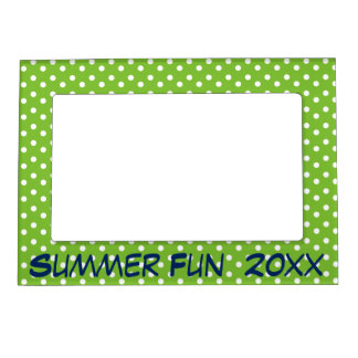 Apple Green White and Navy Blue Polka Dot Magnetic Frame