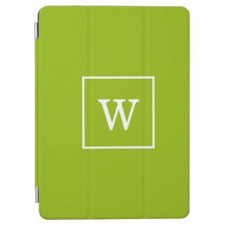 Apple Green White Framed Initial Monogram iPad Air Cover