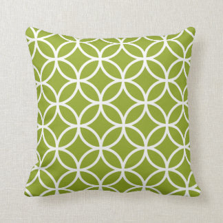 Apple Green & White Modern Geometric Pattern Cushion
