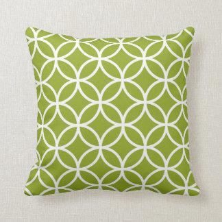 Apple Green & White Modern Geometric Pattern Cushions