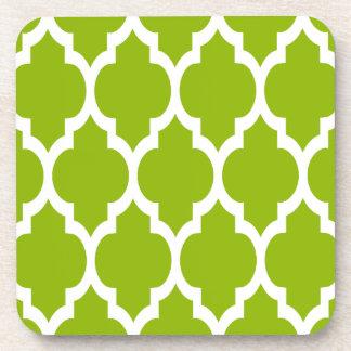 Apple Green White Moroccan Quatrefoil Pattern #4 Coaster
