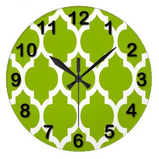 Apple Green White Moroccan Quatrefoil Pattern #4 Large Clock