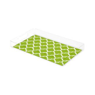 Apple Green White Moroccan Quatrefoil Pattern #5 Acrylic Tray