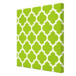 Apple Green White Moroccan Quatrefoil Pattern #5 Canvas Prints