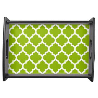 Apple Green White Moroccan Quatrefoil Pattern #5 Serving Tray