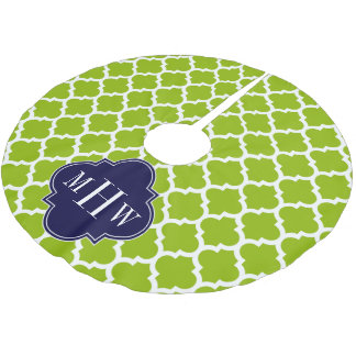 Apple Green Wt Moroccan #5 Navy 3 Initial Monogram Brushed Polyester Tree Skirt