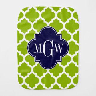Apple Green Wt Moroccan #5 Navy 3 Initial Monogram Burp Cloth