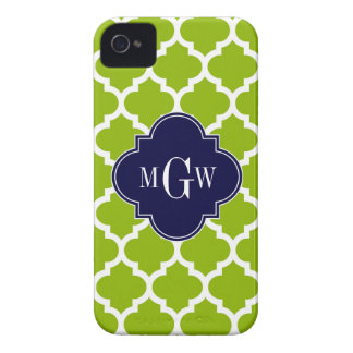 Apple Green Wt Moroccan #5 Navy 3 Initial Monogram iPhone 4 Covers