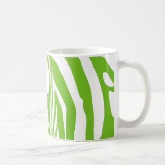 Apple green zebra print basic white mug