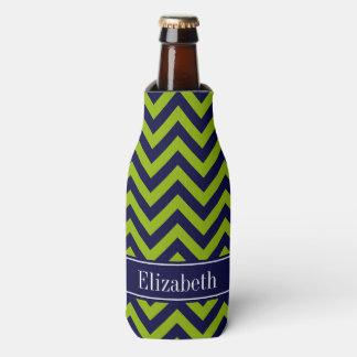 Apple Grn Navy LG Chevron Navy Blue Name Monogram Bottle Cooler