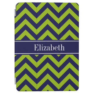 Apple Grn Navy LG Chevron Navy Blue Name Monogram iPad Air Cover