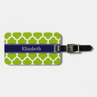 Apple Grn Wht Moroccan #5 Navy Blue Name Monogram Luggage Tag