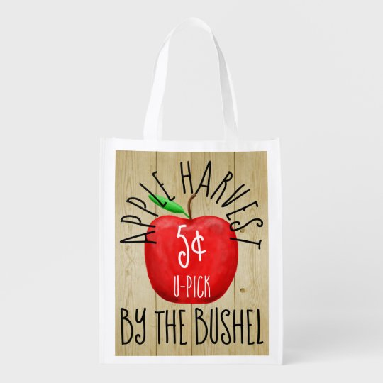 Apple Harvest Vintage Sign Reusable Grocery Bag