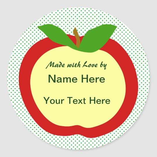 Apple Home Made Food Gift Label Round Sticker