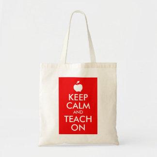 Apple Keep Calm and Teach On Budget Tote Bag
