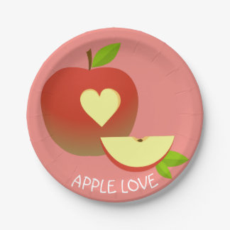 Apple Love Paper Plate