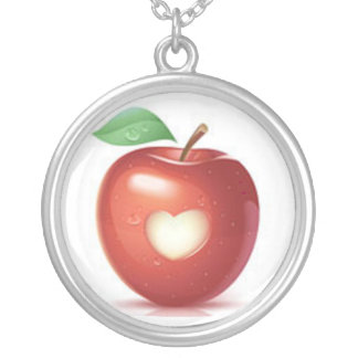 Apple necklace with heart cut-out
