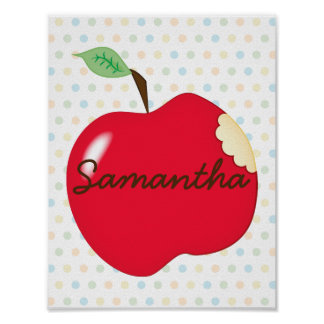 Apple nursery poster with name