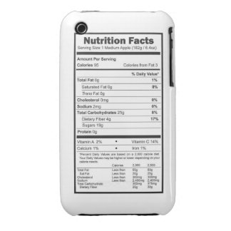 apple nutrition facts iPhone 3 case