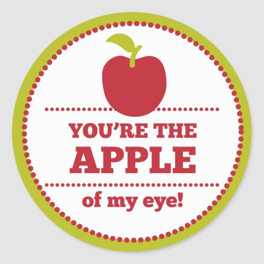 Apple of My Eye Fruit Valentine Classic Round