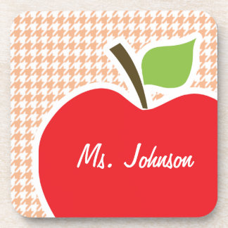Apple on Apricot Color Houndstooth Drink Coasters