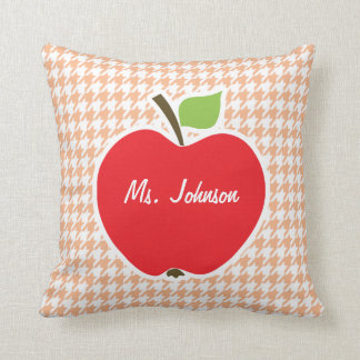 Apple on Apricot Color Houndstooth Throw Pillow