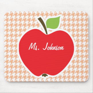 Apple on Apricot Color Houndstooth Mousepads