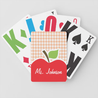 Apple on Apricot Color Houndstooth Playing Cards
