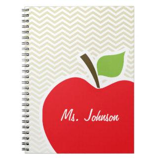 Apple on Beige Chevron; zig zag Note Book