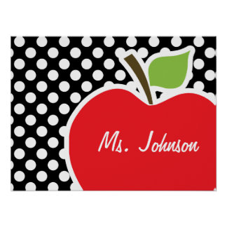 Apple on Black and White Polka Dots Posters