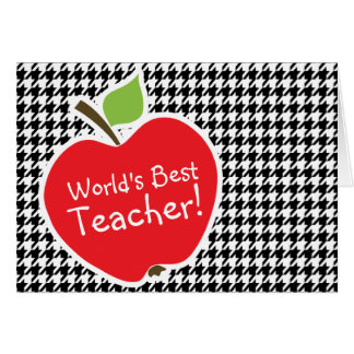 Apple on Black White Houndstooth Greeting Cards