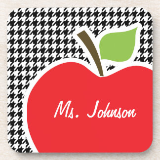 Apple on Black White Houndstooth Drink Coasters