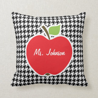 Apple on Black & White Houndstooth Cushion