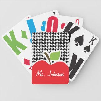 Apple on Black White Houndstooth Card Deck