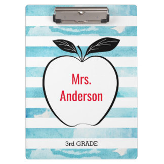 Apple on Blue Watercolor Stripes for Teacher Clipboard