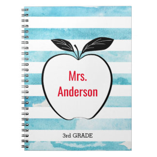 Apple on Blue Watercolor Stripes for Teacher Spiral Notebook