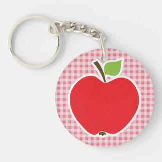 Apple on Blush Pink Gingham Double-Sided Round Acrylic Key Ring