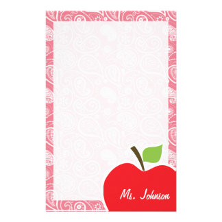 Apple on Blush Pink Paisley Stationery