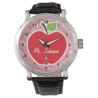 Apple on Blush Pink Paisley Wristwatch