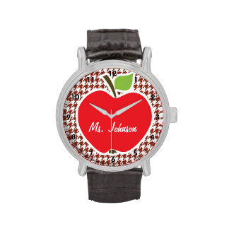 Apple on Burnt Umber Houndstooth Watch