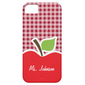 Apple on Carmine Red Gingham Barely There iPhone 5 Case