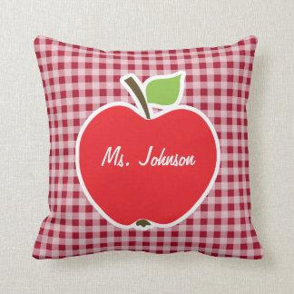 Apple on Carmine Red Gingham Cushion