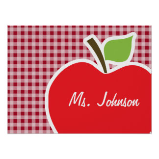 Apple on Carmine Red Gingham Posters