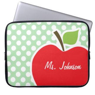 Apple on Celadon Green Polka Dots Laptop Sleeve
