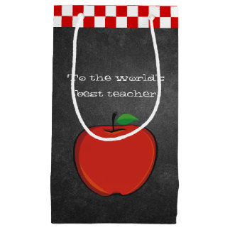 Apple on Chalkboard Teacher Gift Bag