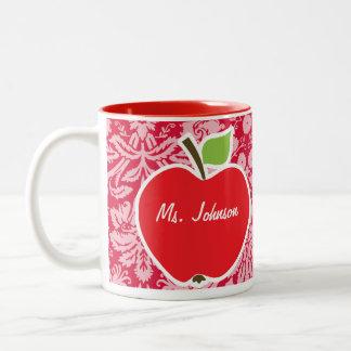 Apple on Crimson Damask Pattern Two-Tone Mug