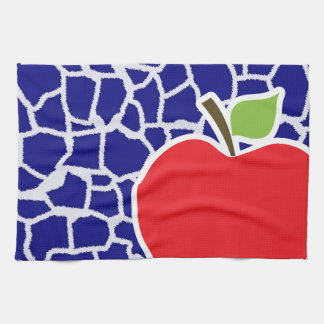 Apple on Dark Blue Giraffe Animal Print Tea Towel