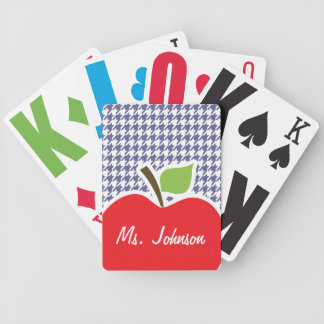 Apple on Dark Blue-Gray Houndstooth Playing Cards